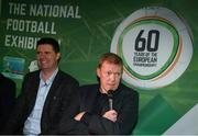 13 February 2020; Former Republic of Ireland player and manager Steve Staunton, right, and former Republic of Ireland international and current FAI Interim Deputy Chief Executive Niall Quinn during the National Football Exhibition Launch at the County Museum in Dundalk, Co Louth. The Football Association of Ireland, Dublin City Council and The Department of Transport, Tourism and Sport have joined forces to create a National Football Exhibition as part of the build up to Ireland's Aviva Stadium playing host to four matches in the UEFA EURO 2020 Championships in June. The Exhibition is a celebration of Irish football and 60 Years of the European Championships. The Exhibition will be running in the County Museum, Dundalk, Co. Louth from February 14th – 29th. Photo by Stephen McCarthy/Sportsfile