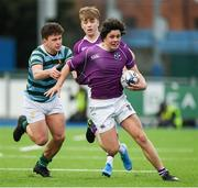 13 February 2020; Rory Morrin of Clongowes Wood College is tackled by Oliver Newsome of St Gerards School during the Bank of Ireland Leinster Schools Senior Cup Second Round match between Clongowes Wood College and St Gerard's School at Energia Park in Dublin. Photo by Matt Browne/Sportsfile