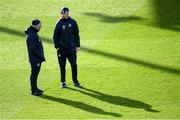 14 February 2020; Scrum coach Robin McBryde, left, and Head coach Leo Cullen during the Leinster Rugby captains run at the RDS Arena in Dublin. Photo by Ramsey Cardy/Sportsfile