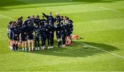 14 February 2020; The Leinster team huddle during the Leinster Rugby captains run at the RDS Arena in Dublin. Photo by Ramsey Cardy/Sportsfile