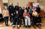 14 February 2020; Scott Fardy of Leinster and Leinster head coach Leo Cullen with MS Ireland staff and patients during a tour of the MS Ireland Care Centre in Dublin. Photo by Ramsey Cardy/Sportsfile