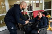 14 February 2020; Fionnuala Smith and Scott Fardy of Leinster during a tour of the MS Ireland Care Centre in Dublin.  Photo by Ramsey Cardy/Sportsfile