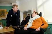 14 February 2020; Anne Ryan with Leinster head coach Leo Cullen during a tour of the MS Ireland Care Centre in Dublin.  Photo by Ramsey Cardy/Sportsfile