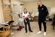 14 February 2020; Scott Fardy of Leinster and Ellish Clune during a tour of the MS Ireland Care Centre in Dublin. Photo by Ramsey Cardy/Sportsfile