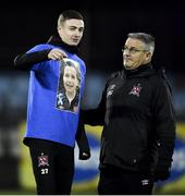 14 February 2020; Daniel Kelly of Dundalk, left, with Dundalk first team coach John Gill ahead of the SSE Airtricity League Premier Division match between Dundalk and Derry City at Oriel Park in Dundalk, Louth. Photo by Ben McShane/Sportsfile