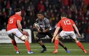 14 February 2020; Sibusiso Sithole of Isuzu Southern Kings in action against Billy Holland and JJ Hanrahan of Munster during the Guinness PRO14 Round 11 match between Munster and Isuzu Southern Kings at Irish Independent Park in Cork. Photo by Brendan Moran/Sportsfile