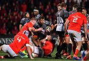 14 February 2020; Erich Cronje of Isuzu Southern Kings is tackled by John Ryan and John Hodnett of Munster during the Guinness PRO14 Round 11 match between Munster and Isuzu Southern Kings at Irish Independent Park in Cork. Photo by Brendan Moran/Sportsfile