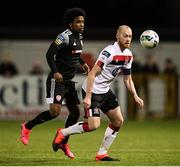 14 February 2020; Chris Shields of Dundalk and Walter Figueira of Derry City during the SSE Airtricity League Premier Division match between Dundalk and Derry City at Oriel Park in Dundalk, Louth. Photo by Stephen McCarthy/Sportsfile
