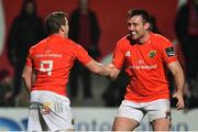 14 February 2020; Neil Cronin of Munster celebrates with team-mate Niall Scannell, right, after scoring their side's sixth try during the Guinness PRO14 Round 11 match between Munster and Isuzu Southern Kings at Irish Independent Park in Cork. Photo by Brendan Moran/Sportsfile