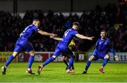14 February 2020; Kevin O'Connor of Waterford celebrates after scoring his side's first goal with team-mates Michael O'Connor, left, and Robert McCourt during the SSE Airtricity League Premier Division match between St Patrick's Athletic and Waterford at Richmond Park in Dublin. Photo by Harry Murphy/Sportsfile