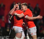 14 February 2020; John Hodnett of Munster, left, celebrates with team-mate James Cronin and Mike Haley after scoring their fifth try during the Guinness PRO14 Round 11 match between Munster and Isuzu Southern Kings at Irish Independent Park in Cork. Photo by Brendan Moran/Sportsfile