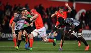 14 February 2020; John Hodnett of Munster breaks clear of Demetri Catrakilis and Thembelani Bholi of Isuzu Southern Kings on the way to score his side's sixth try during the Guinness PRO14 Round 11 match between Munster and Isuzu Southern Kings at Irish Independent Park in Cork. Photo by Brendan Moran/Sportsfile