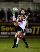 14 February 2020; Patrick Hoban of Dundalk and Eoin Toal of Derry City during the SSE Airtricity League Premier Division match between Dundalk and Derry City at Oriel Park in Dundalk, Louth. Photo by Stephen McCarthy/Sportsfile