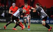 14 February 2020; Chris Farrell of Munster is tackled by Thembelani Bholi and Jerry Sexton of Isuzu Southern Kings during the Guinness PRO14 Round 11 match between Munster and Isuzu Southern Kings at Irish Independent Park in Cork. Photo by Brendan Moran/Sportsfile