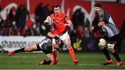 14 February 2020; JJ Hanrahan of Munster is tackled by Schalk Ferreira of Isuzu Southern Kings during the Guinness PRO14 Round 11 match between Munster and Isuzu Southern Kings at Irish Independent Park in Cork. Photo by Brendan Moran/Sportsfile