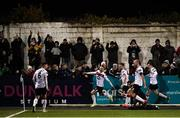 14 February 2020; Dane Massey celebrates with his Dundalk team-mates after scoring his side's first goal during the SSE Airtricity League Premier Division match between Dundalk and Derry City at Oriel Park in Dundalk, Louth. Photo by Stephen McCarthy/Sportsfile