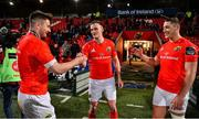 14 February 2020; Man of the Match John Hodnett of Munster, left, with team-mates Nick McCarthy and Dan Goggin after the Guinness PRO14 Round 11 match between Munster and Isuzu Southern Kings at Irish Independent Park in Cork. Photo by Brendan Moran/Sportsfile