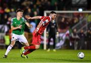 14 February 2020; Ciaran Kilduff of Shelbourne in action against Joe Redmond of Cork City during the SSE Airtricity League Premier Division match between Cork City and Shelbourne at Turners Cross in Cork. Photo by Eóin Noonan/Sportsfile