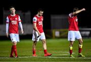 14 February 2020; St Patrick's Athletic players, from left, Chris Forrester, Robbie Benson and Billy King look dejected following the SSE Airtricity League Premier Division match between St Patrick's Athletic and Waterford United at Richmond Park in Dublin. Photo by Harry Murphy/Sportsfile