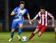 14 February 2020; Mark Russell of Finn Harps in action against Darragh Noone of Sligo Rovers during the SSE Airtricity League Premier Division match between Finn Harps and Sligo Rovers at Finn Park in Ballybofey, Donegal. Photo by Oliver McVeigh/Sportsfile