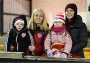 14 February 2020; Family members of Conor McCormack of Derry City, from left, Tiernan Emily, Laoise and Sarah Jane prior to the SSE Airtricity League Premier Division match between Dundalk and Derry City at Oriel Park in Dundalk, Louth. Photo by Stephen McCarthy/Sportsfile