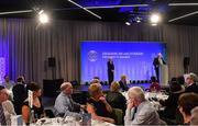 14 February 2020; Uachtarán Chumann Lúthchleas Gael John Horan speaking alongside Maolmhuire Tynan, Head of Public Affairs AIB, during the GAA President's Awards at Croke Park in Dublin. Photo by Piaras Ó Mídheach/Sportsfile