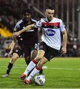 14 February 2020; Michael Duffy of Dundalk and Danny Lupano of Derry City during the SSE Airtricity League Premier Division match between Dundalk and Derry City at Oriel Park in Dundalk, Louth. Photo by Ben McShane/Sportsfile