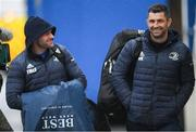 15 February 2020; Fergus McFadden, left, and Rob Kearney of Leinster arrive ahead of the Guinness PRO14 Round 11 match between Leinster and Toyota Cheetahs at the RDS Arena in Dublin. Photo by Ramsey Cardy/Sportsfile
