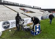15 February 2020; Camera operators de-rig after television coverage was cancelled prior to the SSE Airtricity League Premier Division match between Bohemians and Shamrock Rovers at Dalymount Park in Dublin. Photo by Stephen McCarthy/Sportsfile