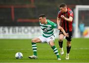 15 February 2020; Aaron Greene of Shamrock Rovers in action against James Finnerty of Bohemians during the SSE Airtricity League Premier Division match between Bohemians and Shamrock Rovers at Dalymount Park in Dublin. Photo by Seb Daly/Sportsfile