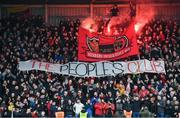 15 February 2020; Bohemians supporters ahead of the SSE Airtricity League Premier Division match between Bohemians and Shamrock Rovers at Dalymount Park in Dublin. Photo by Stephen McCarthy/Sportsfile