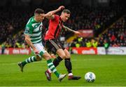 15 February 2020; Robert Cornwall of Bohemians in action against Aaron Greene of Shamrock Rovers during the SSE Airtricity League Premier Division match between Bohemians and Shamrock Rovers at Dalymount Park in Dublin. Photo by Seb Daly/Sportsfile