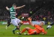 15 February 2020; Aaron Greene of Shamrock Rovers in action against James Talbot of Bohemians during the SSE Airtricity League Premier Division match between Bohemians and Shamrock Rovers at Dalymount Park in Dublin. Photo by Seb Daly/Sportsfile