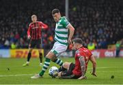 15 February 2020; Aaron Greene of Shamrock Rovers in action against Robert Cornwall of Bohemians during the SSE Airtricity League Premier Division match between Bohemians and Shamrock Rovers at Dalymount Park in Dublin. Photo by Seb Daly/Sportsfile