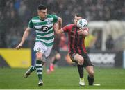 15 February 2020; James Finnerty of Bohemians in action against Aaron Greene of Shamrock Rovers during the SSE Airtricity League Premier Division match between Bohemians and Shamrock Rovers at Dalymount Park in Dublin. Photo by Seb Daly/Sportsfile