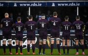 15 February 2020; The Leinster team stand for a moment of silence before the Guinness PRO14 Round 11 match between Leinster and Toyota Cheetahs at the RDS Arena in Dublin. Photo by Harry Murphy/Sportsfile