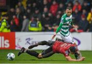 15 February 2020; Graham Burke of Shamrock Rovers in action against Robert Cornwall of Bohemians during the SSE Airtricity League Premier Division match between Bohemians and Shamrock Rovers at Dalymount Park in Dublin. Photo by Seb Daly/Sportsfile