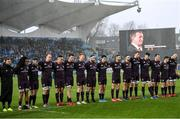 1 February 2020; The Leinster team stand for a minute's silence for former Munster Rugby CEO Garrett Fitzgerald before the Guinness Six Nations Rugby Championship match between Ireland and Scotland at the Aviva Stadium in Dublin. Photo by Ramsey Cardy/Sportsfile