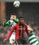 15 February 2020; Andre Wright of Bohemians in action against Gary O'Neill, left, and Lee Grace of Shamrock Rovers during the SSE Airtricity League Premier Division match between Bohemians and Shamrock Rovers at Dalymount Park in Dublin. Photo by Stephen McCarthy/Sportsfile