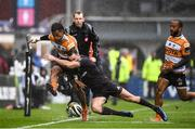 15 February 2020; Clayton Blommetjies of Toyota Cheetahs is tackled by Dave Kearney of Leinster during the Guinness PRO14 Round 11 match between Leinster and Toyota Cheetahs at the RDS Arena in Dublin. Photo by Harry Murphy/Sportsfile