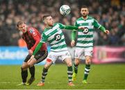 15 February 2020; Jack Byrne of Shamrock Rovers in action against Kris Twardek of Bohemians during the SSE Airtricity League Premier Division match between Bohemians and Shamrock Rovers at Dalymount Park in Dublin. Photo by Stephen McCarthy/Sportsfile