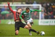 15 February 2020; Graham Burke of Shamrock Rovers in action against Kris Twardek of Bohemians during the SSE Airtricity League Premier Division match between Bohemians and Shamrock Rovers at Dalymount Park in Dublin. Photo by Stephen McCarthy/Sportsfile