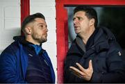 14 February 2020; Former Republic of Ireland international and current FAI Interim Deputy Chief Executive Niall Quinn, right, with Ger O'Brien, during the SSE Airtricity League Premier Division match between St Patrick's Athletic and Waterford United at Richmond Park in Dublin. Photo by Sam Barnes/Sportsfile