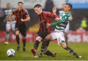 15 February 2020; Andy Lyons of Bohemians tackles Graham Burke of Shamrock Rovers, resulting in a red card, during the SSE Airtricity League Premier Division match between Bohemians and Shamrock Rovers at Dalymount Park in Dublin. Photo by Stephen McCarthy/Sportsfile