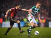15 February 2020; Liam Scales of Shamrock Rovers in action against Keith Buckley of Bohemians during the SSE Airtricity League Premier Division match between Bohemians and Shamrock Rovers at Dalymount Park in Dublin. Photo by Stephen McCarthy/Sportsfile
