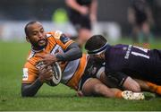 15 February 2020; Rhyno Smith of Toyota Cheetahs is tackled by Fergus McFadden of Leinster during the Guinness PRO14 Round 11 match between Leinster and Toyota Cheetahs at the RDS Arena in Dublin. Photo by Ramsey Cardy/Sportsfile