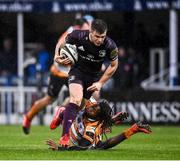 15 February 2020; Luke McGrath of Leinster is tackled by Rabz Maxwane of Toyota Cheetahs during the Guinness PRO14 Round 11 match between Leinster and Toyota Cheetahs at the RDS Arena in Dublin. Photo by Harry Murphy/Sportsfile