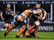 15 February 2020; Luke McGrath of Leinster is tackled by Joseph Dweba, left, and Rabz Maxwane of Toyota Cheetahs during the Guinness PRO14 Round 11 match between Leinster and Toyota Cheetahs at the RDS Arena in Dublin. Photo by Harry Murphy/Sportsfile