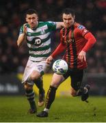 15 February 2020; Michael Barker of Bohemians and Aaron Greene of Shamrock Rovers during the SSE Airtricity League Premier Division match between Bohemians and Shamrock Rovers at Dalymount Park in Dublin. Photo by Stephen McCarthy/Sportsfile
