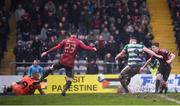 15 February 2020; Aaron Greene of Shamrock Rovers shoots to score his side's first goal during the SSE Airtricity League Premier Division match between Bohemians and Shamrock Rovers at Dalymount Park in Dublin. Photo by Stephen McCarthy/Sportsfile